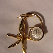 Vintage Watch Pin With Deco Bird