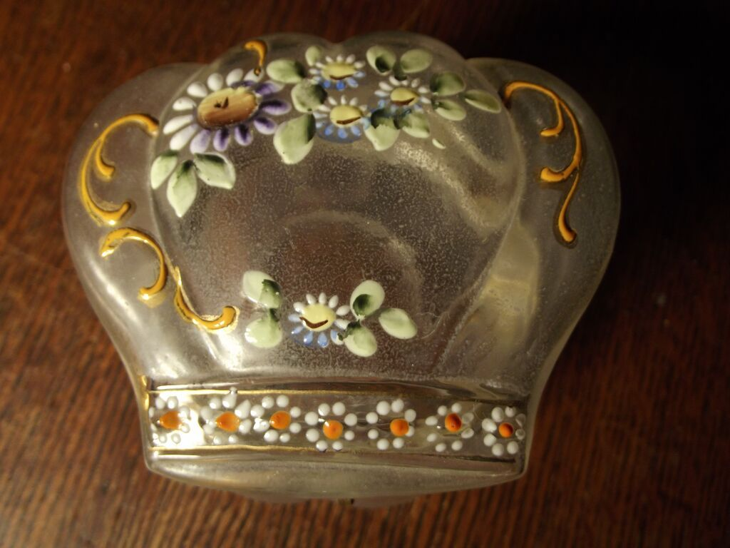 Victorian Satin Glass Hand Painted Jar