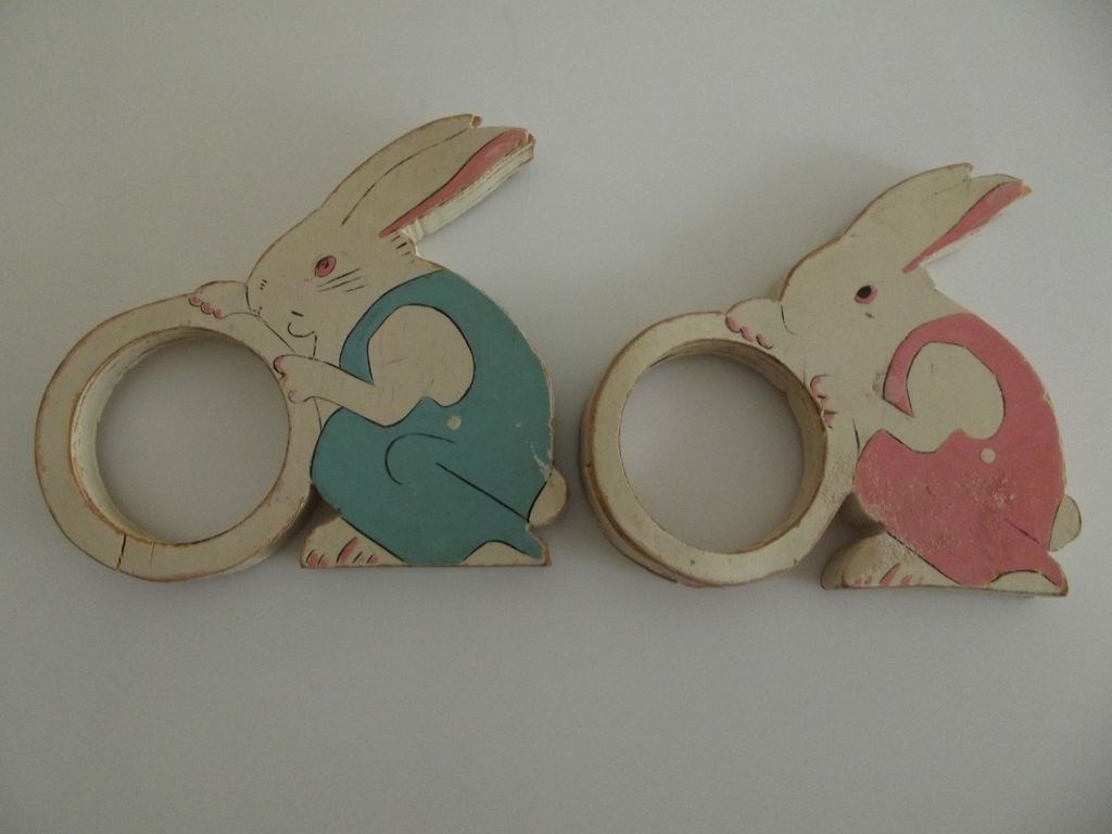 Pair of Wood Rabbit Napkin Holders