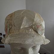 White Sleep Cap  With Rosette Trim