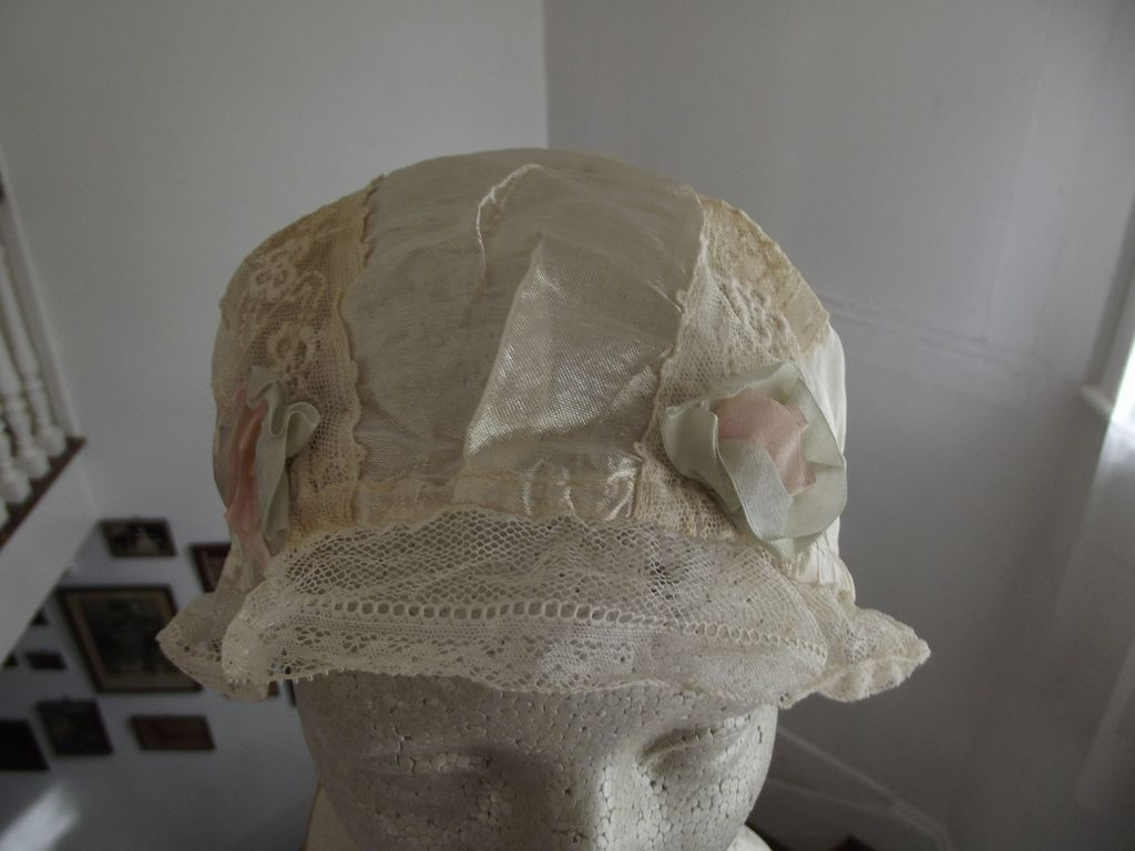 White Sleep Cap  With Rosette Trim