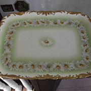 Beautiful  French Porcelain Dresser Tray With Daisies