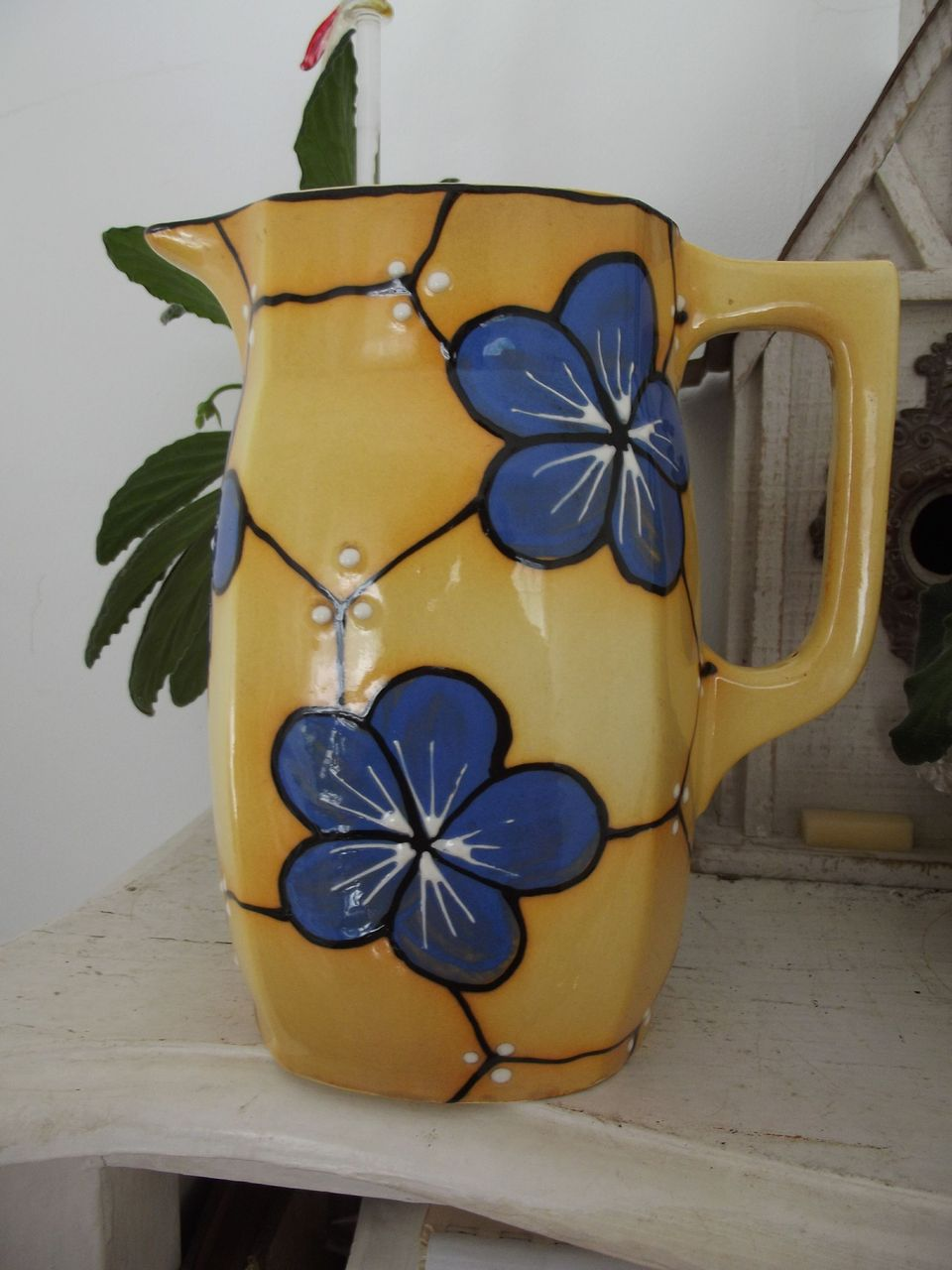 Czech Bern Yellow Ceramic Pitcher Blue Flowers  Country Kitchen Decor Table Decoration
