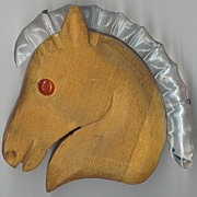 Large Lucite and Wood Horse Head Pin