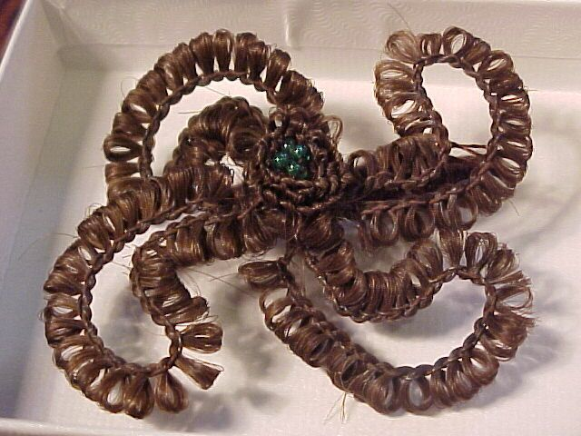 Elaborate Victorian Hair  Mourning Brooch