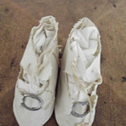 White  Antique Doll Shoes - Red Tag Sale Item