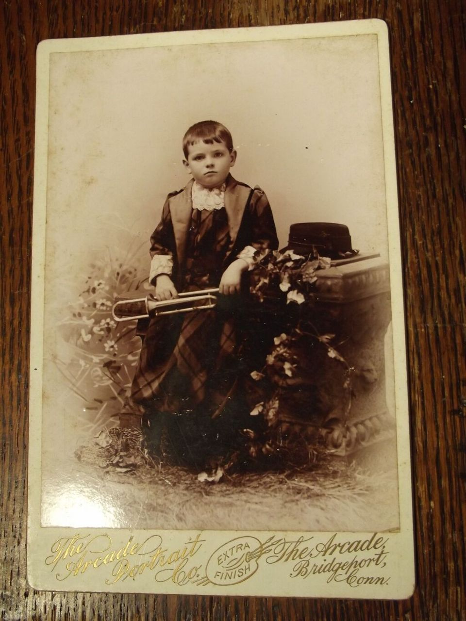 Victorian Cabinet Card Boy With A Horn