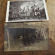 Two Old Postcards, Motor Bus Smash and House Fire