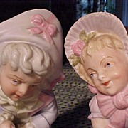 Pair of Antique Victorian  Vases with Children