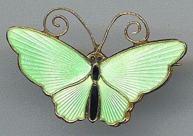 Lime Green Enamel David Anderson Butterfly Pin