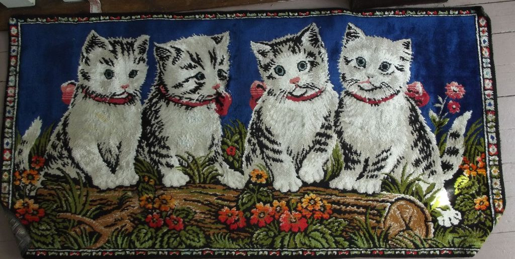 Vintage Rug With Kittens