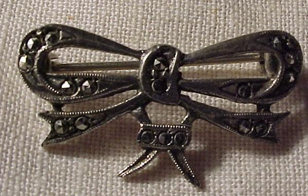 Petite Marcasite  and Sterling Bow Pin