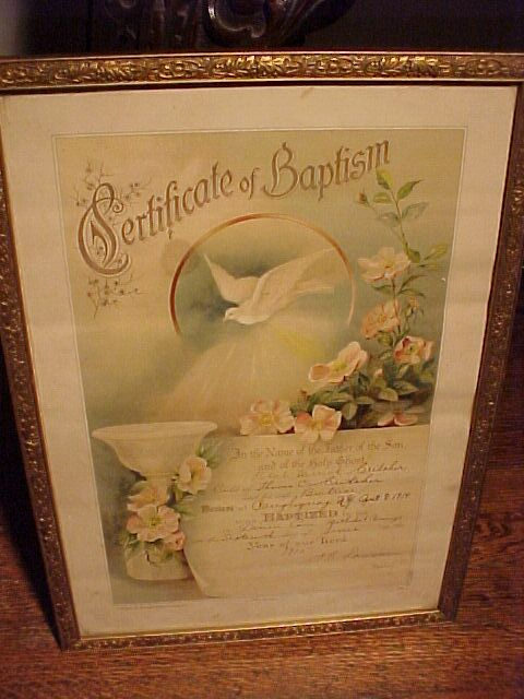 1914 Framed Baptism Certificate, Dove and Dogwood Flowers