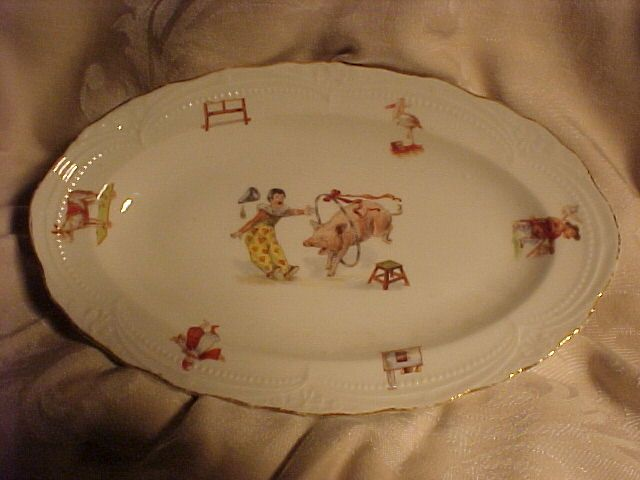 Old Child's or Doll's German Dish Set, Circus Theme
