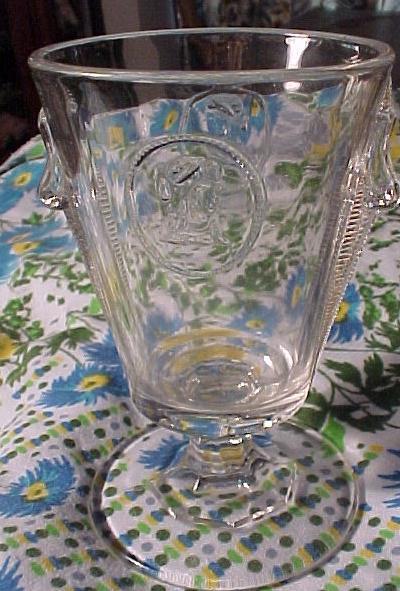 Pretty Old Cameo pattern Glass Sugar Bowl  and Creamer