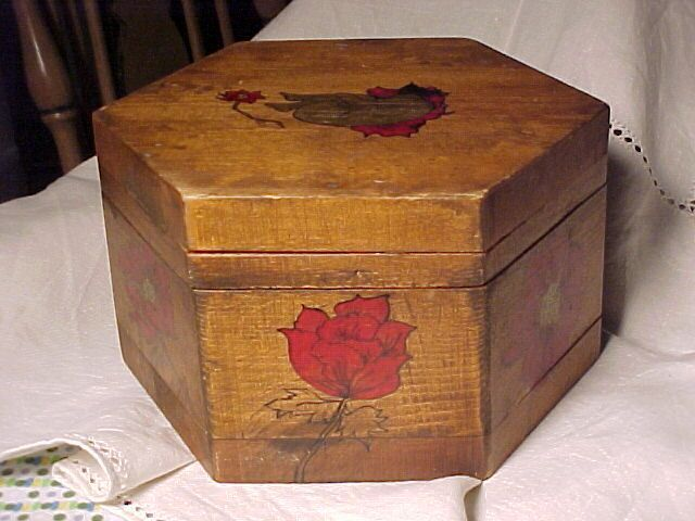 Vintage Octagon Wood Box with Painted Lady