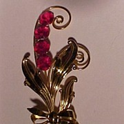 Large Vintage Pin With Red Stones