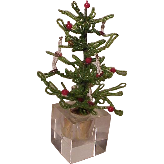 Beaded Christmas Tree Glass Base Doll House Size