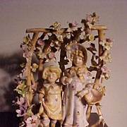 Delicate Teplitz  Porcelain Arbor With Children