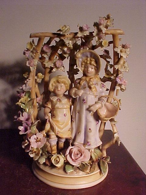 Delicate Teplitz  Porcelain Arbor With Children
