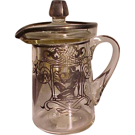 Fabulous Art Deco Sterling on Glass Pitcher With Art Nouveau Woman With Parrot and Flowing Hair