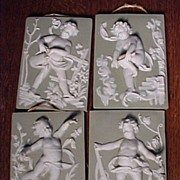 Four Beautiful Old Plaques With Raised Cherub Figures
