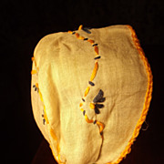 White Cotton Bonnet  With Blue and Yellow Embroidery