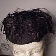 Pretty Vintage Black Hat Great Veil!
