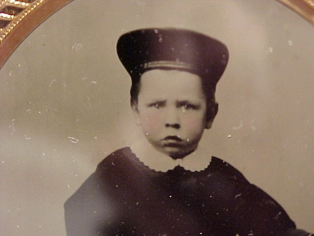 Civil War Tinted Ambrotype of  A Boy With His Horn