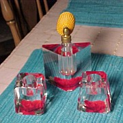 Lucite Atomizer and Candlesticks  From the 50's