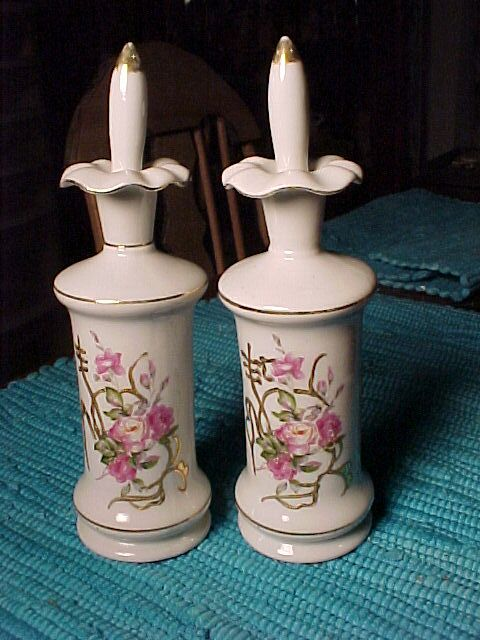 Two Vintage Porcelain Perfumes With Roses