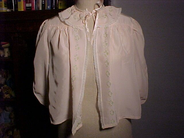 Bed Jacket Pink With Pink&Green Trim