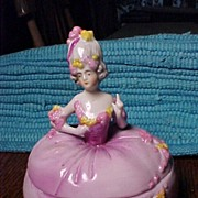 Pretty In Pink  Lady  Porcelain Trinket Box