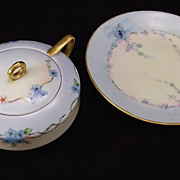 O & EG Royal Austria APP Forget me not pattern signed Sugar & Lemon dish (aka bonbon, butterball, or olive dish)