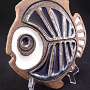 Victoria Littlejohn Mid-Century Studio Pottery Tile Trivet Cuerda Seca