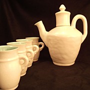 Leslie Winfield Sample 1929-35 Porcelain Chocolate Pot & 4 cups
