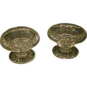 Cut glass pair of footed master salt dips