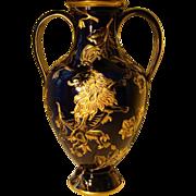 French cobalt blue porcelain huge rampant lion gilded vase
