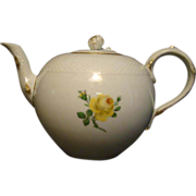 Meissen yellow rose porcelain tea pot teapot crossed swords