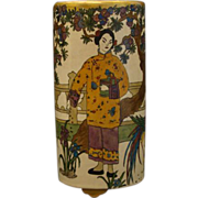 Orientalist 1920's hand painted vase woman and bird artist signed - Red Tag Sale Item