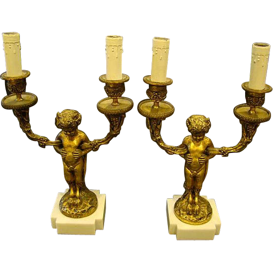 French bronze and marble pair centaur candlestick lamps