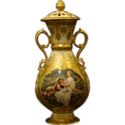 Vienna Austria beehive portrait covered urn vase courting scene