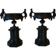 Antique pair bronze mantle vases urns panthers and cupids
