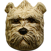 Italian pottery Schnauzer dog head cookie jar