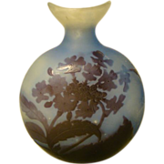 Emile Galle French cameo glass pilgrim flask vase blue purple flowers