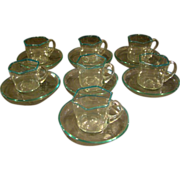 Venetian glass set of seven art glass cups and saucers aqua color rim
