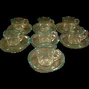Venetian glass set of seven art glass cups and saucers aqua color rim