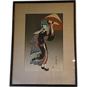 Utamaro Japanese woodblock print woman with parasol umbrella - Red Tag Sale Item