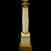White opaline glass tall column lamp