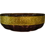 Bohemian glass amethyst glass bowl gold frieze Egyptian figures